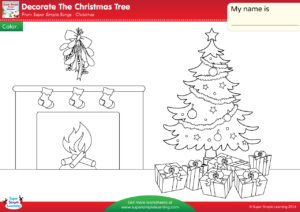 Decorate The Christmas Tree Worksheet – Color   Super Simple