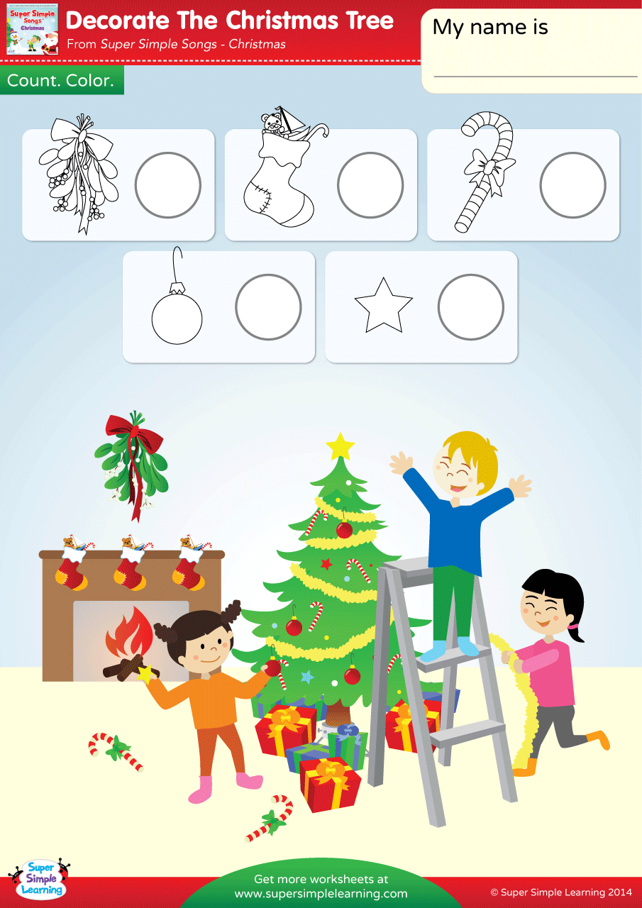 Decorate The Christmas Tree Worksheet - Count & Color - Super Simple