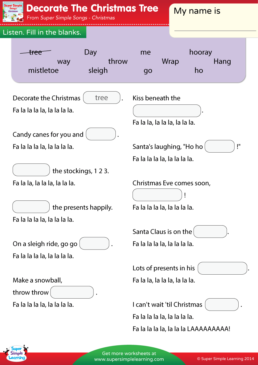 Decorate The Christmas Tree Worksheet Fill In The Blanks
