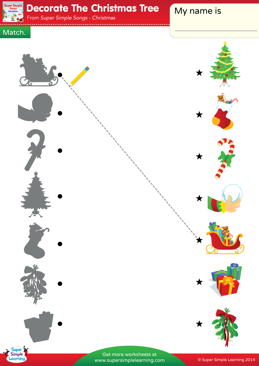 Decorate The Christmas Tree Worksheet Match Super Simple
