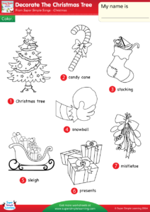 Color The Christmas Tree Candy Cane Stocking Snowball Sleigh Presents And Mistletoe Use This Coloring Worksheet To Introduce Or Review Key Vocabulary