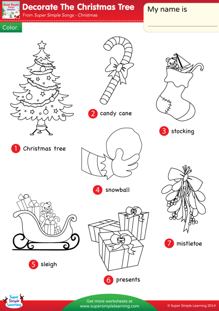Decorate The Christmas Tree Worksheet - Vocabulary Coloring ...