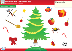 decorate the christmas tree worksheet what doesnt belong