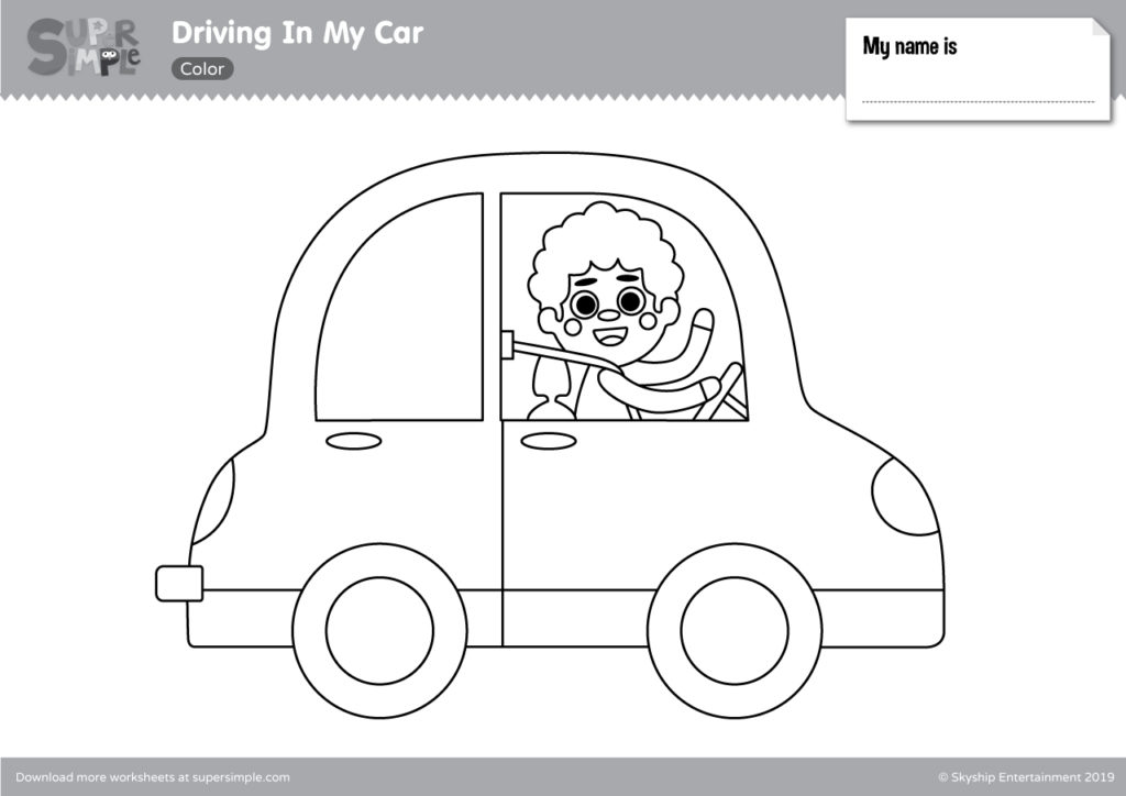 Driving In My Car Coloring Pages Super Simple