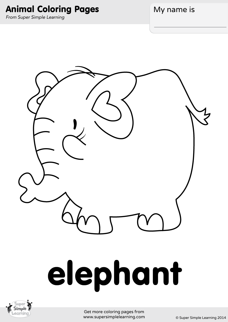 Elephant Coloring Page Super Simple