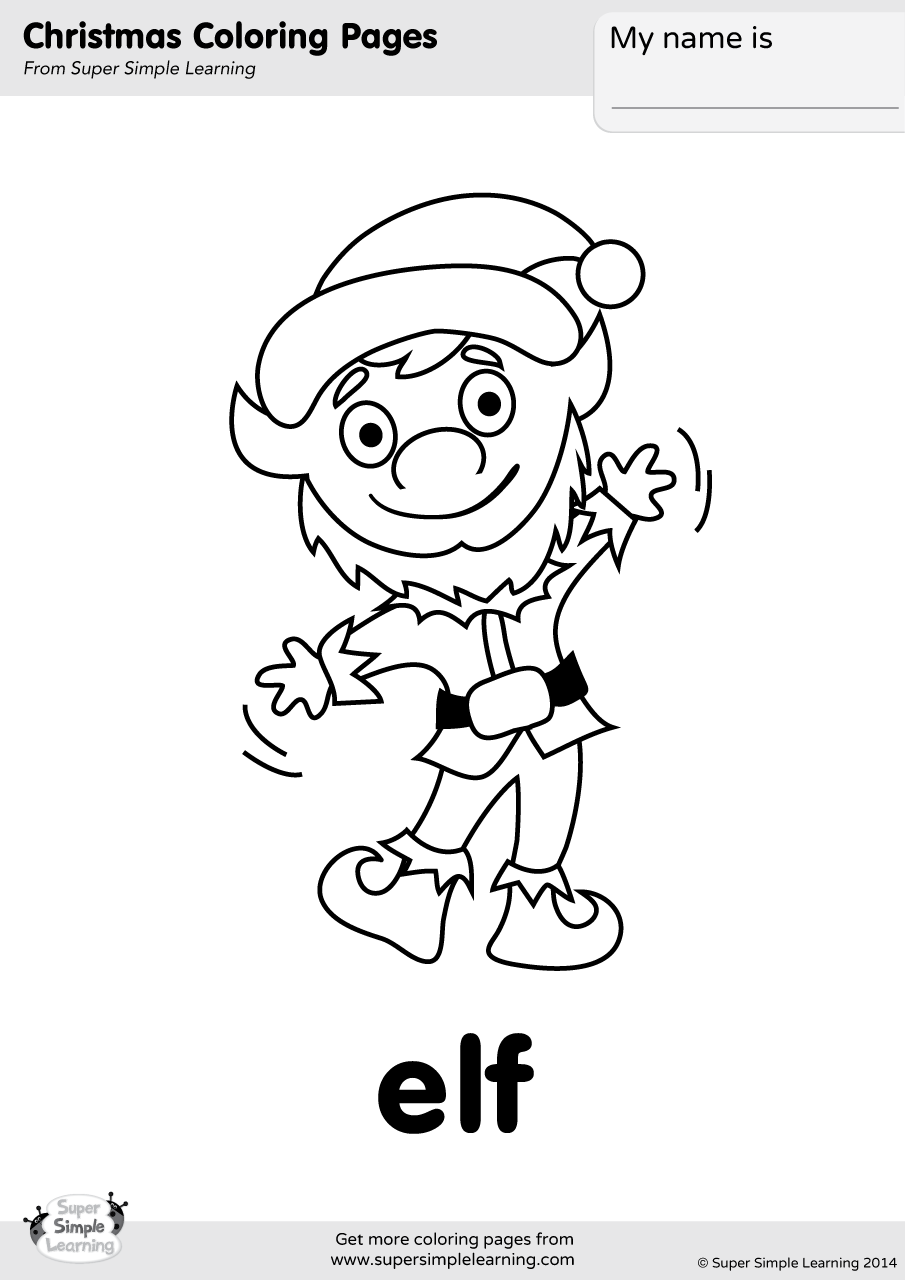 Elf Coloring Page | Super Simple