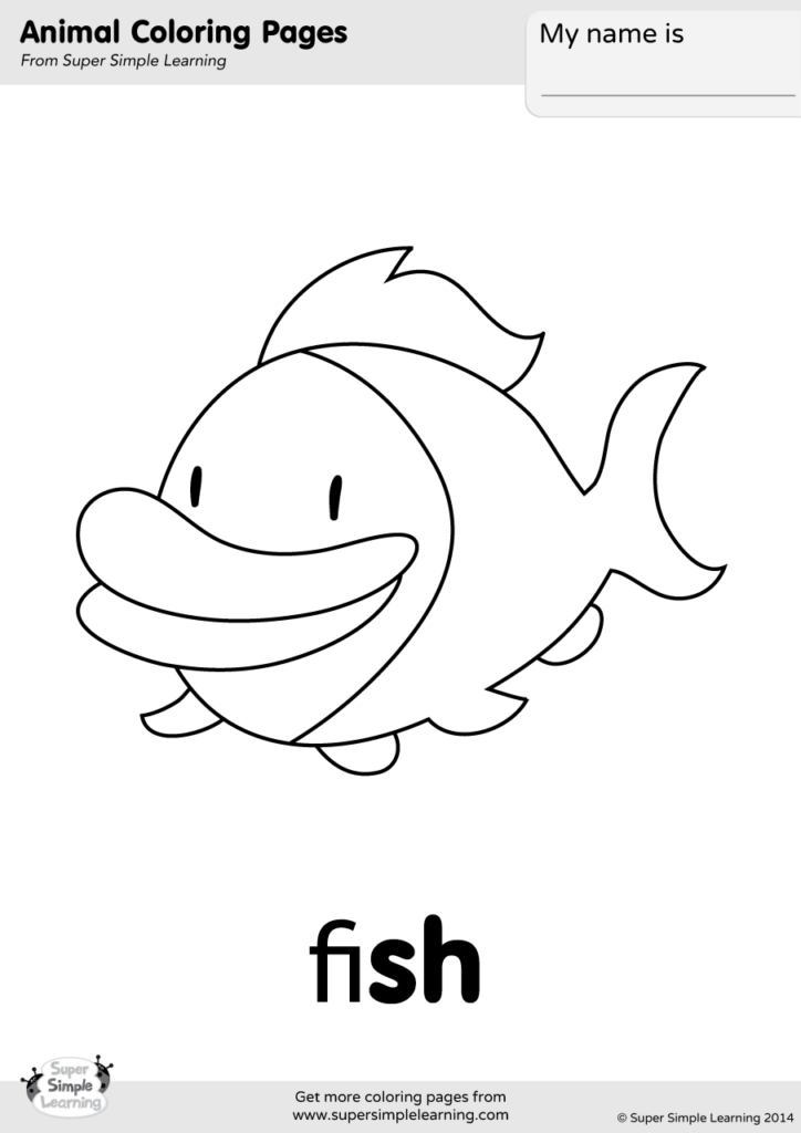 Fish Coloring Page Super Simple