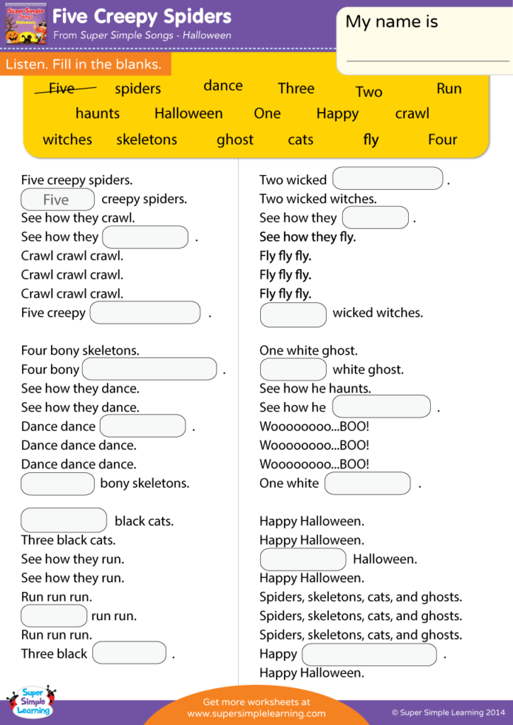 Five Creepy Spiders Worksheet - Fill In The Blanks - Super Simple