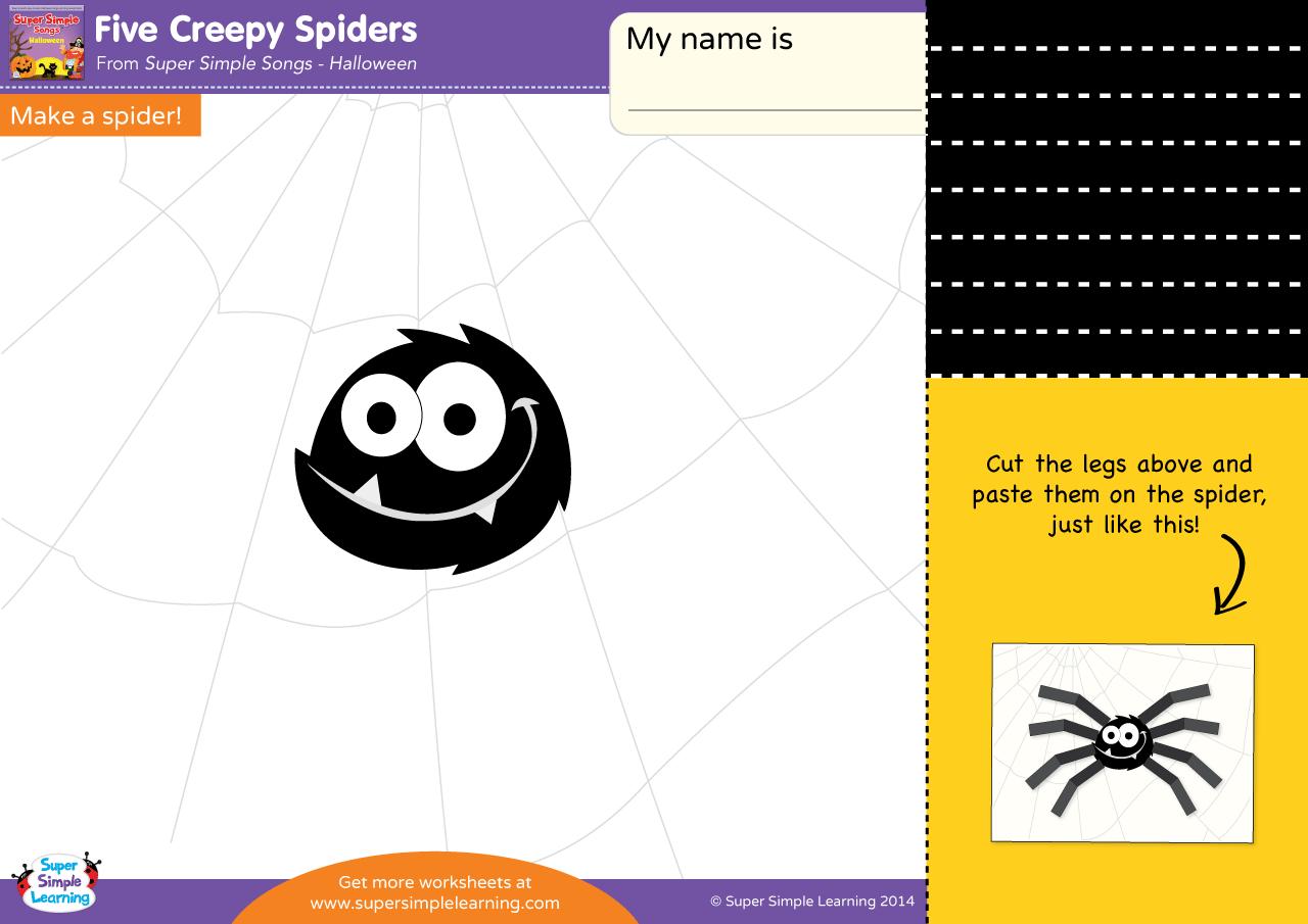 Workbooks spider worksheets : Five Creepy Spiders Worksheet – Make A Spider!   Super Simple