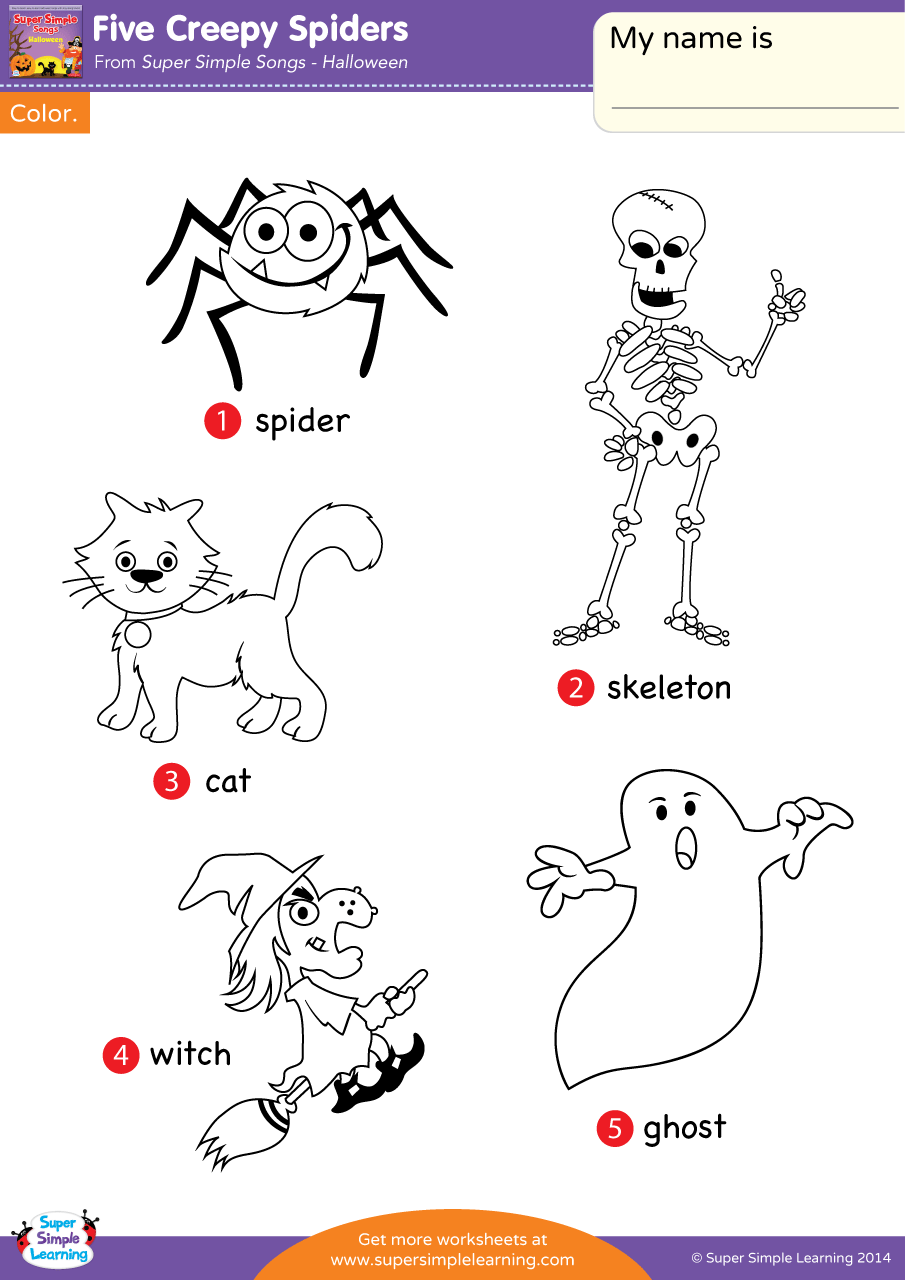 Five Creepy Spiders Worksheet - Vocabulary Coloring