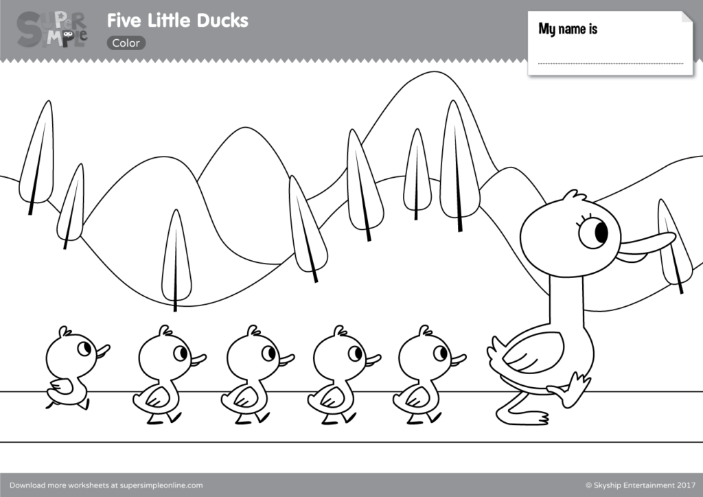 Five Little Ducks Coloring Pages - Super Simple