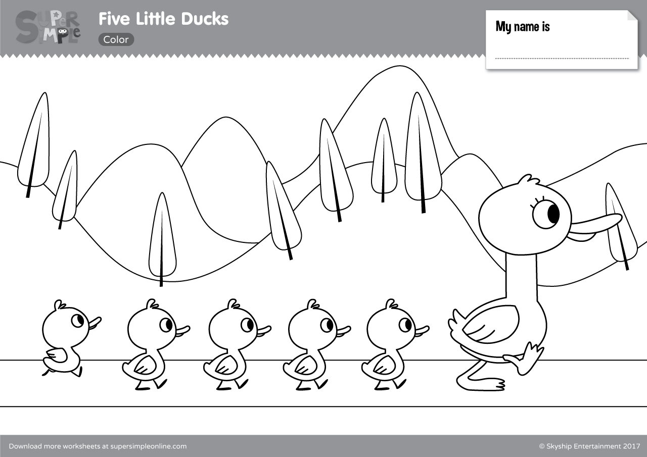 Five Little Ducks Coloring Pages