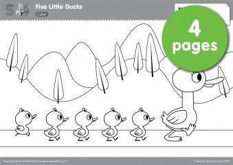 Five Little Ducks Coloring Pages