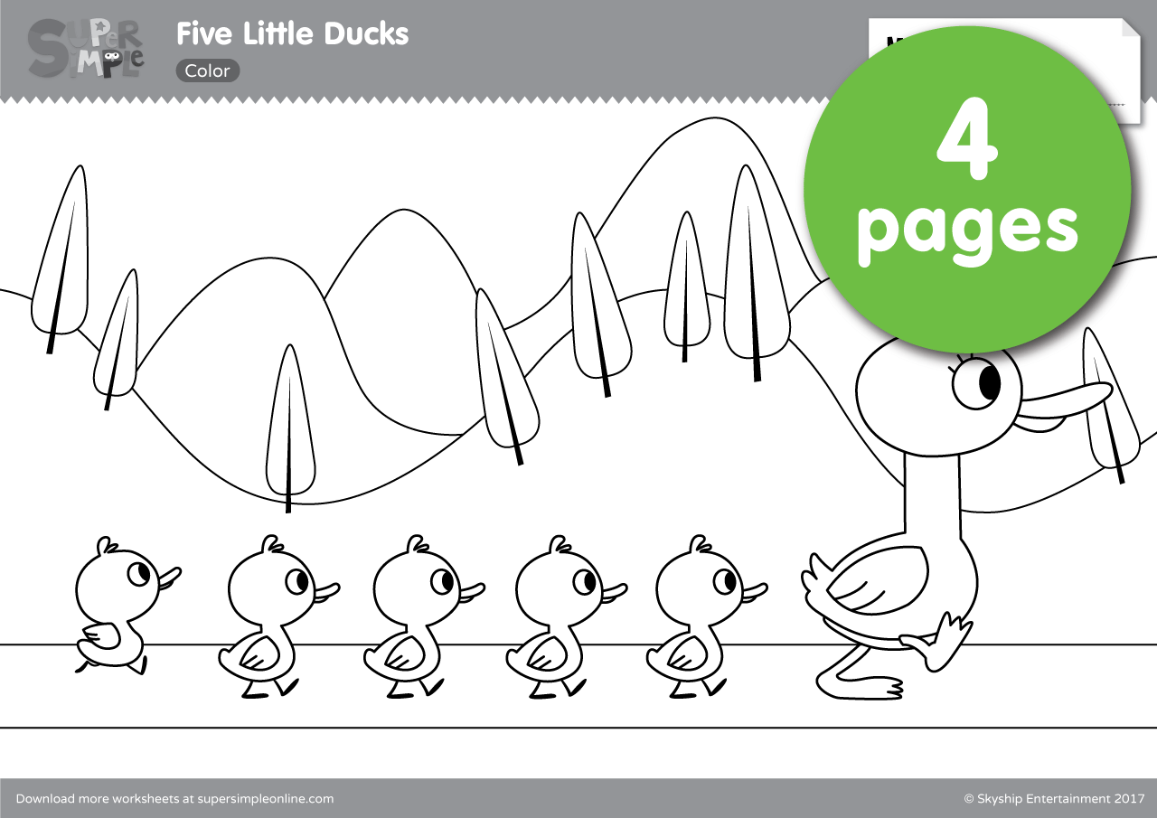 Five Little Ducks Coloring Pages | Super Simple