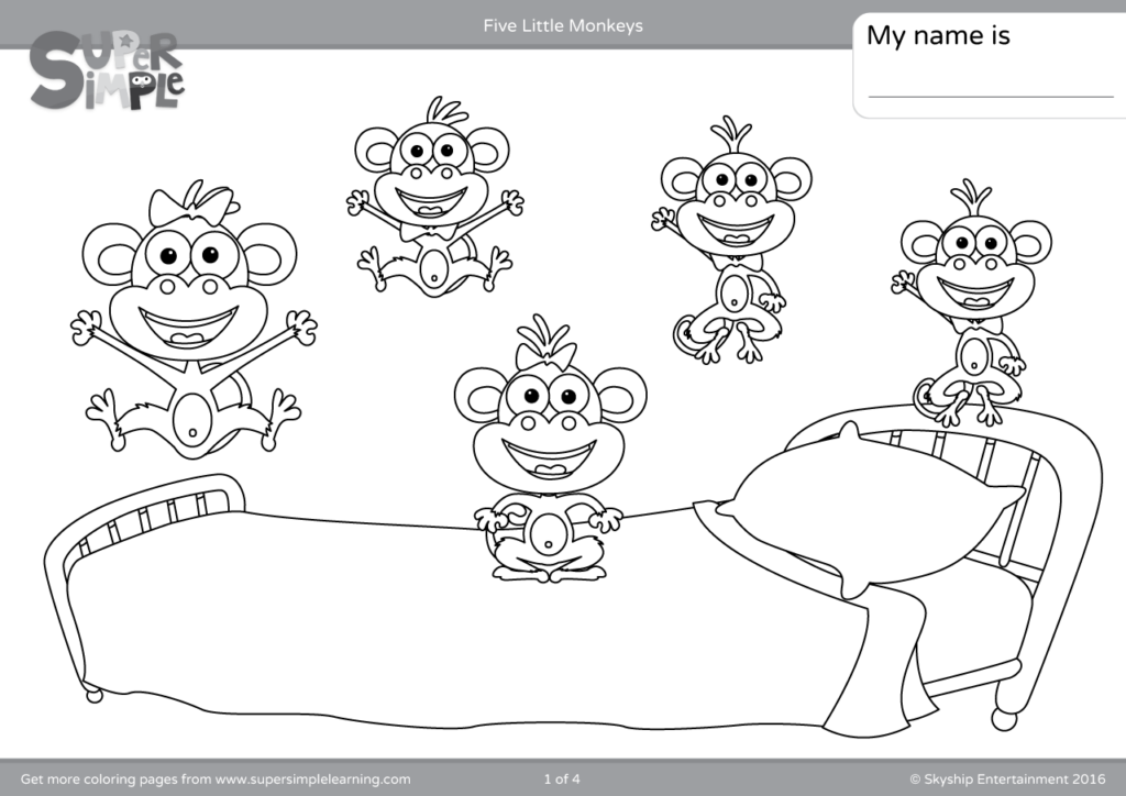 Five Little Monkeys Coloring Pages - Super Simple