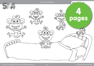 Five Little Monkeys Coloring Pages | Super Simple