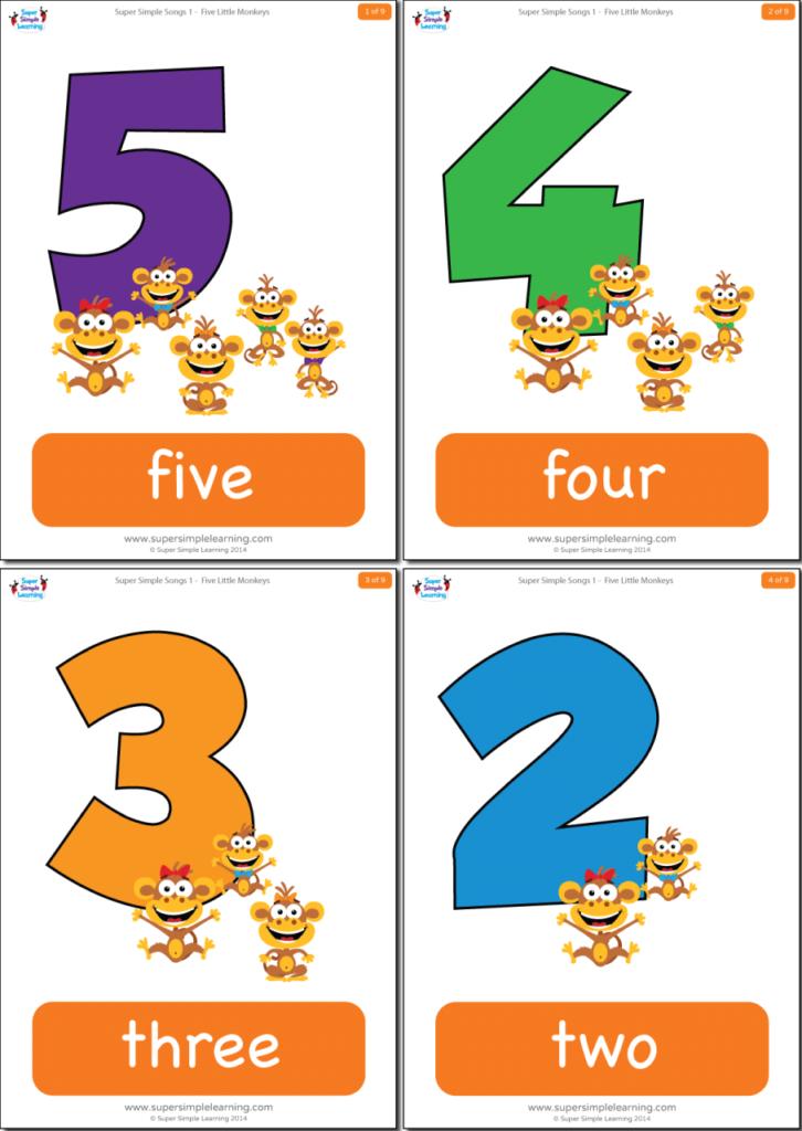 photo regarding Rhyming Flash Cards Printable called 5 Tiny Monkeys Flashcards - Tremendous Easy