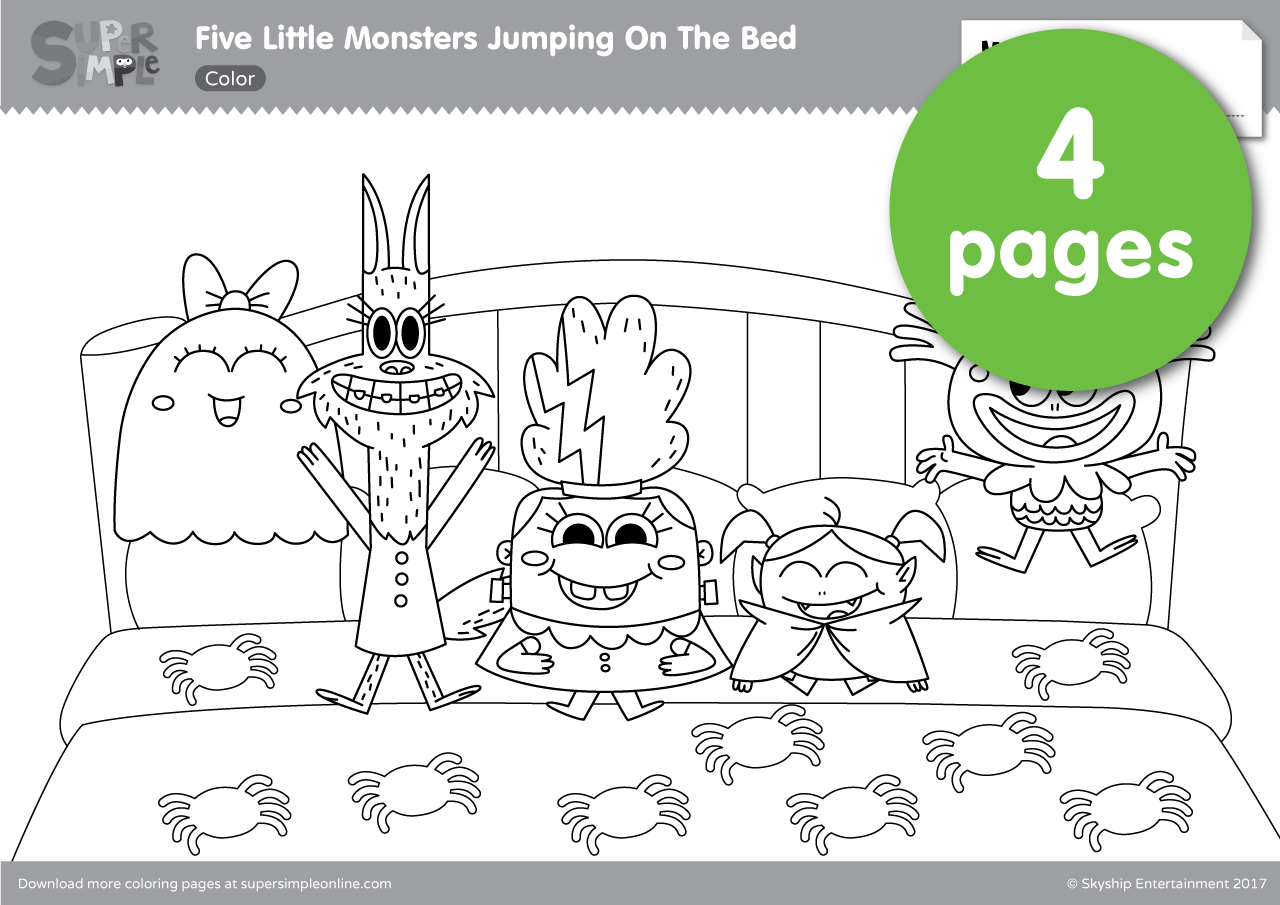 Five Little Monsters Jumping In The Bed Coloring Pages | Super Simple