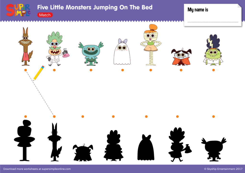 Five Little Monsters Jumping On The Bed Match Super Simple