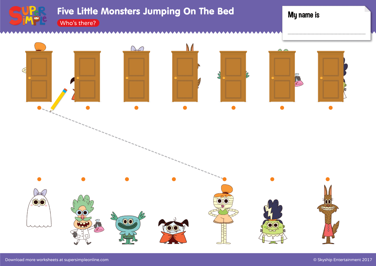 five little monsters jumping on the bed – who's there? | super simple