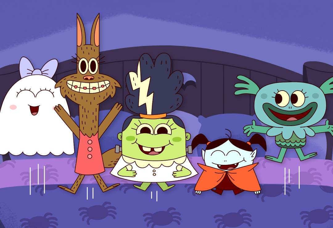 Five Little Monsters Jumping On The Bed Super Simple Songs
