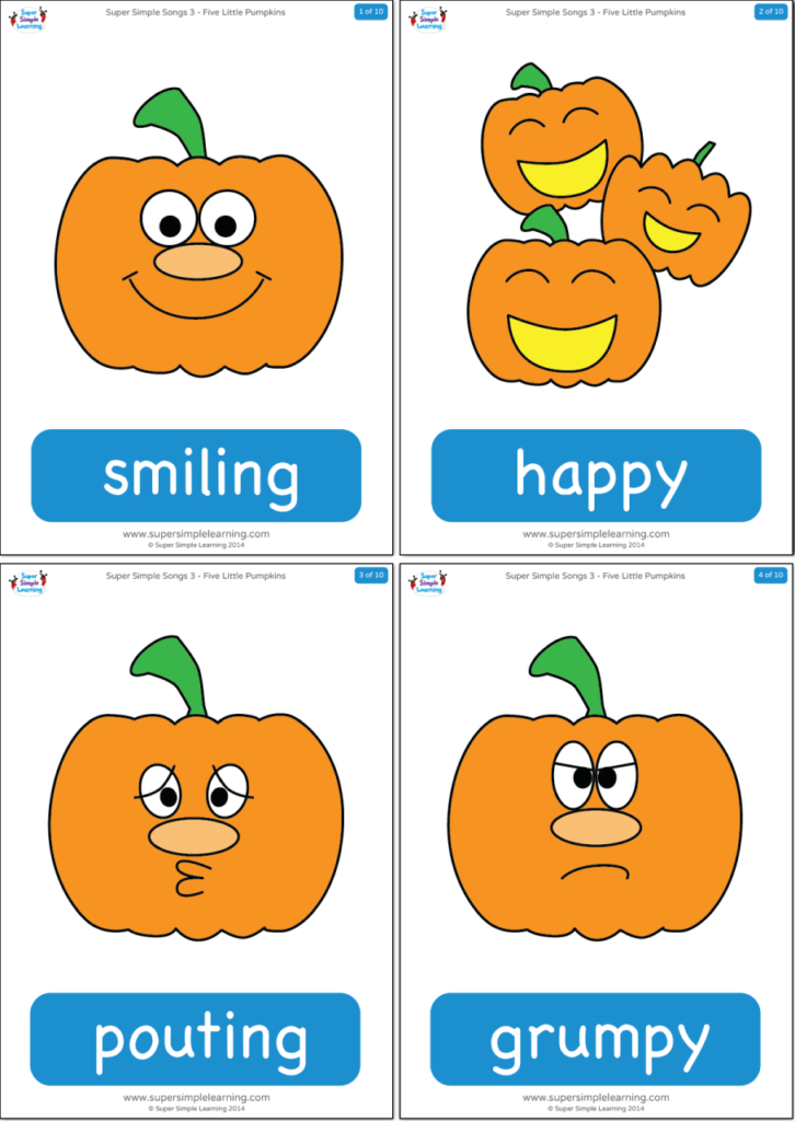 Five Little Pumpkins Flashcards Super Simple
