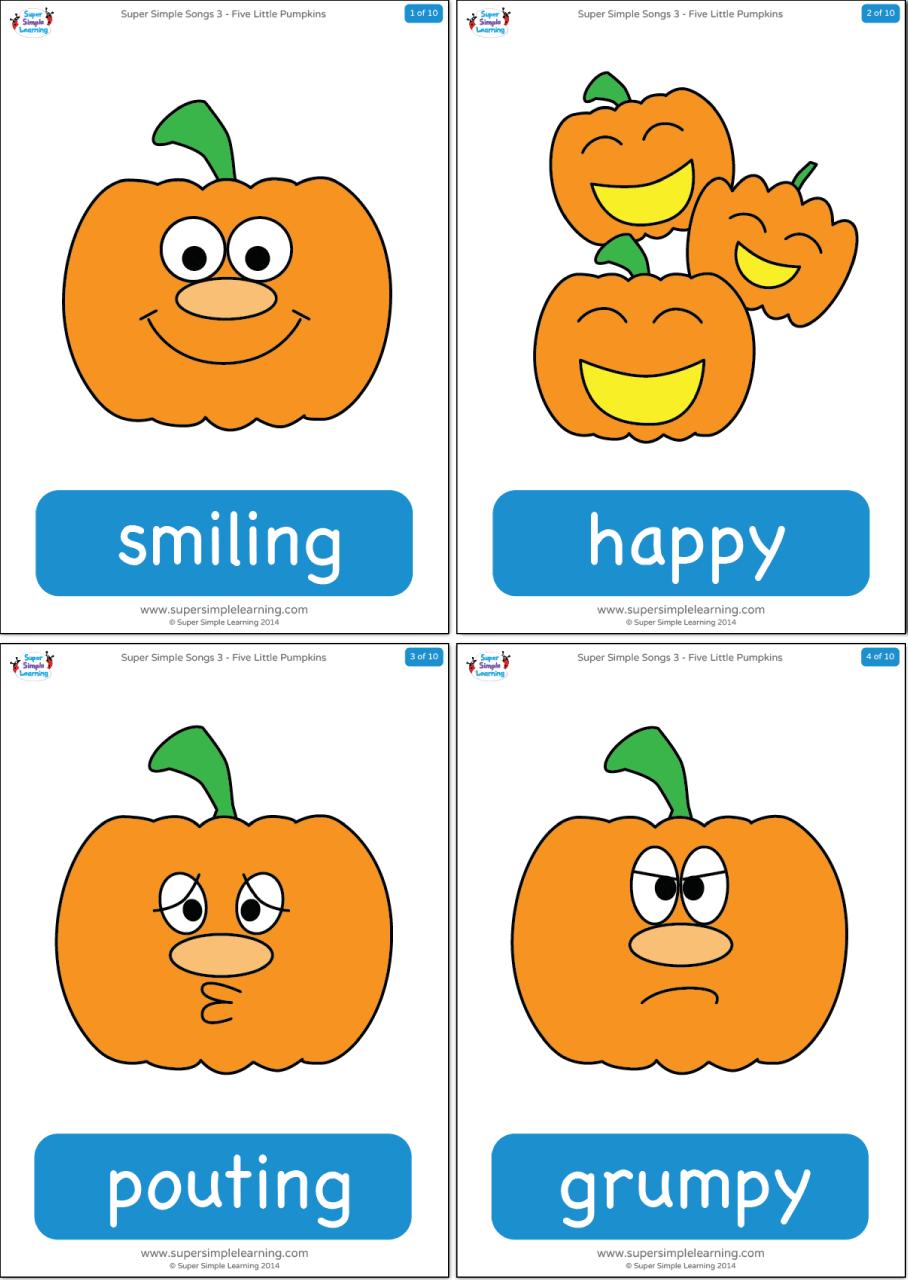 Five Little Pumpkins Flashcards Super Simple