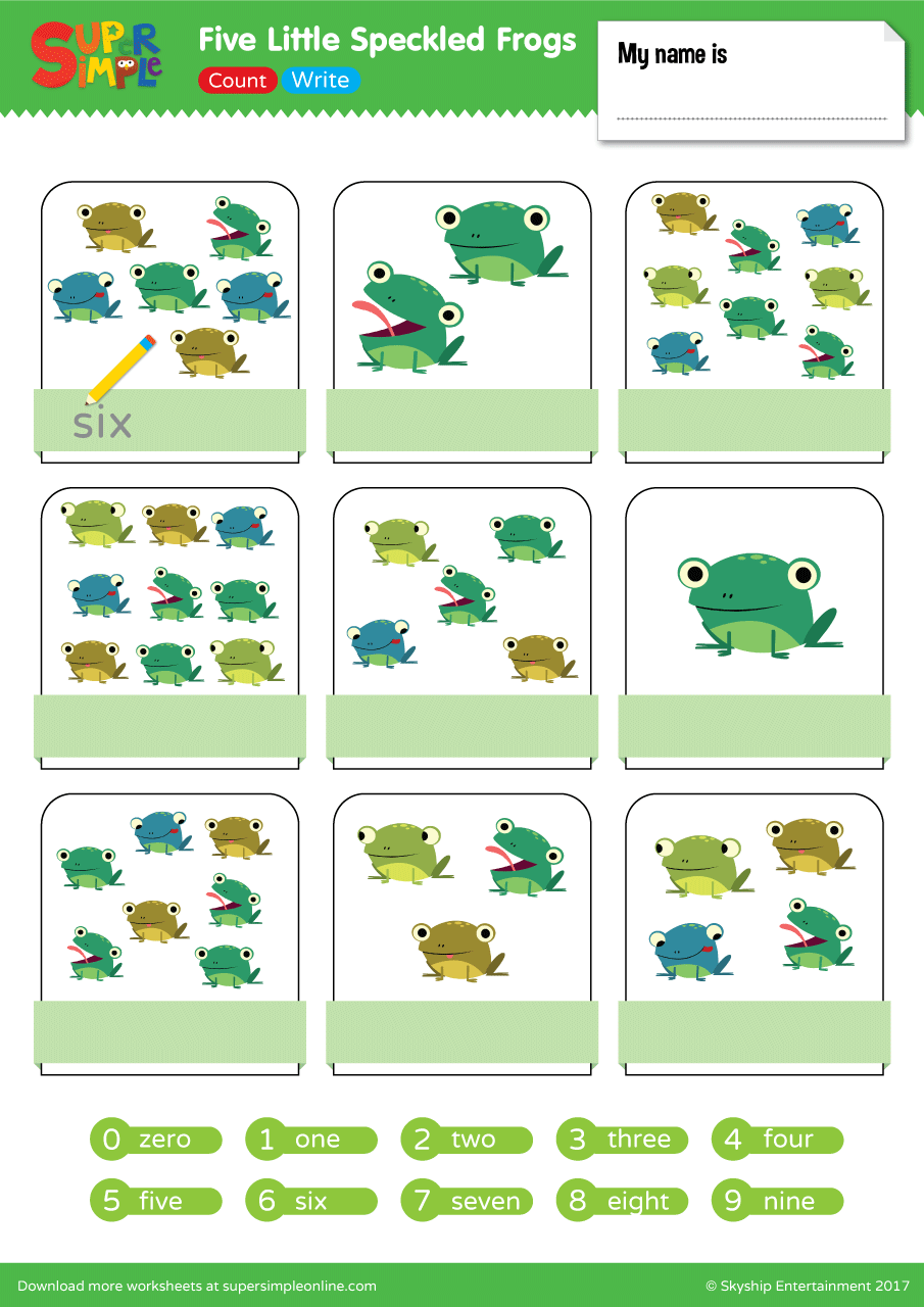 Five Little Speckled Frogs Count Amp Write Super Simple