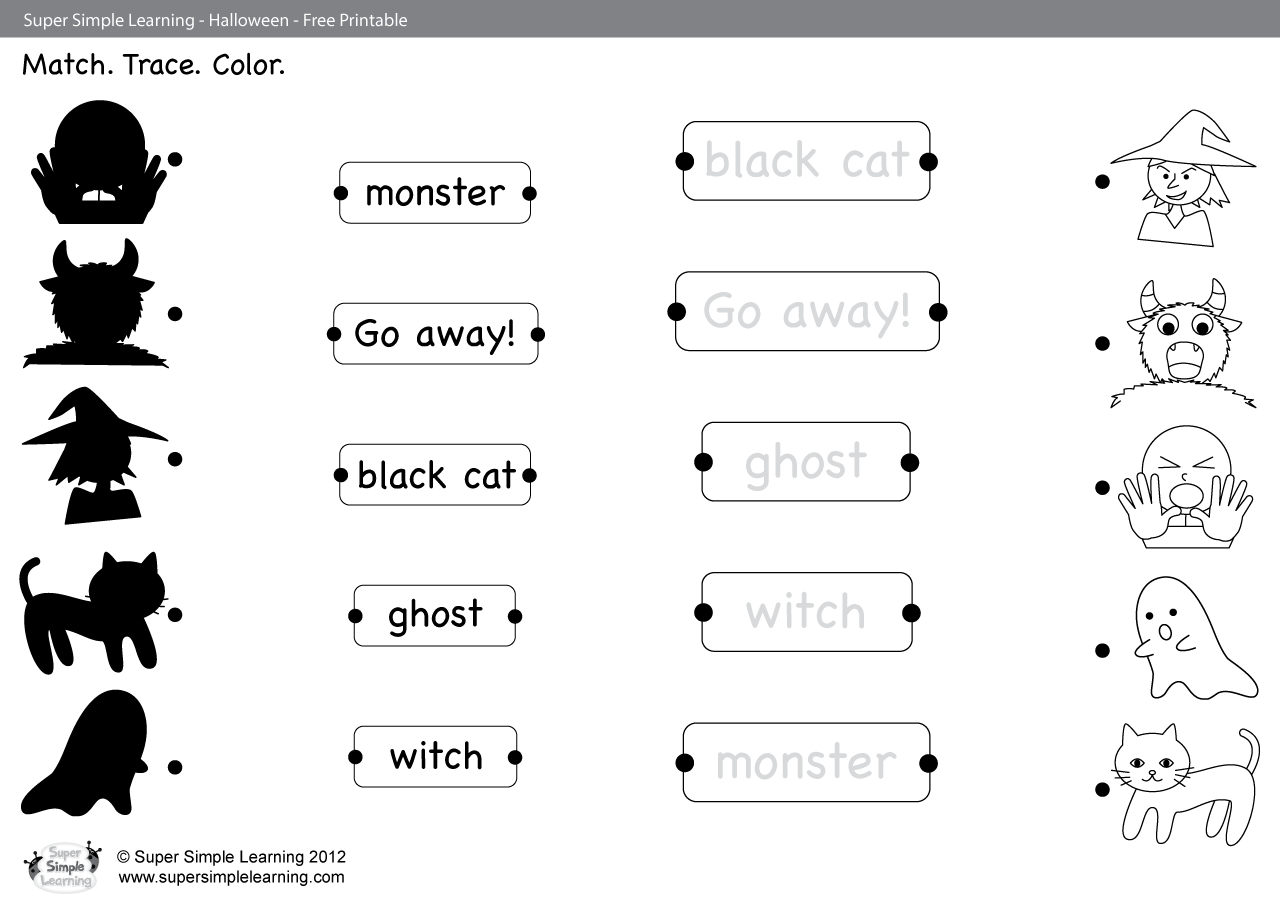 Go Away Worksheet Match Trace Color Super Simple
