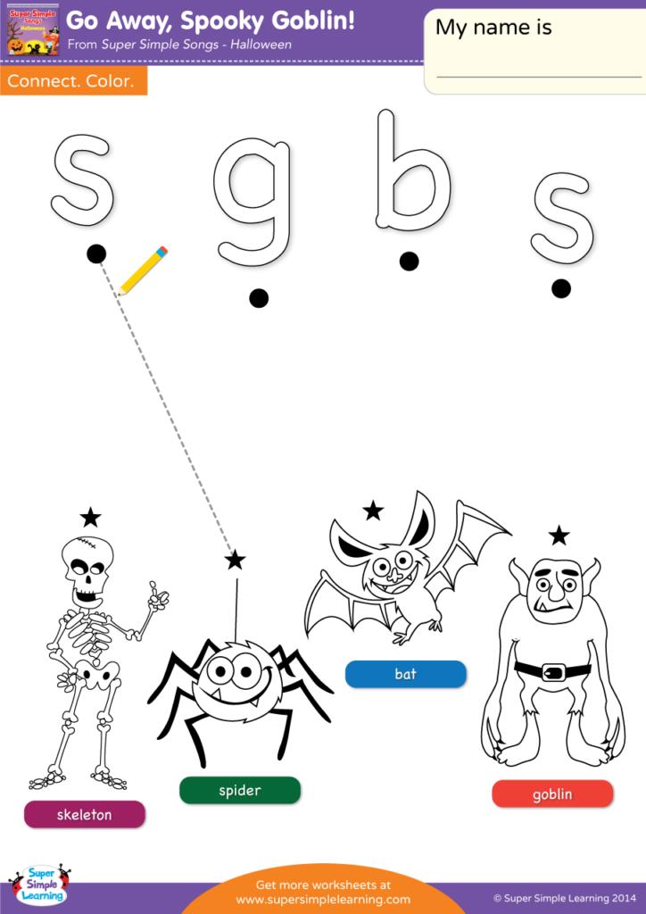 go away spooky goblin worksheet lowercase letter matching super simple. Black Bedroom Furniture Sets. Home Design Ideas