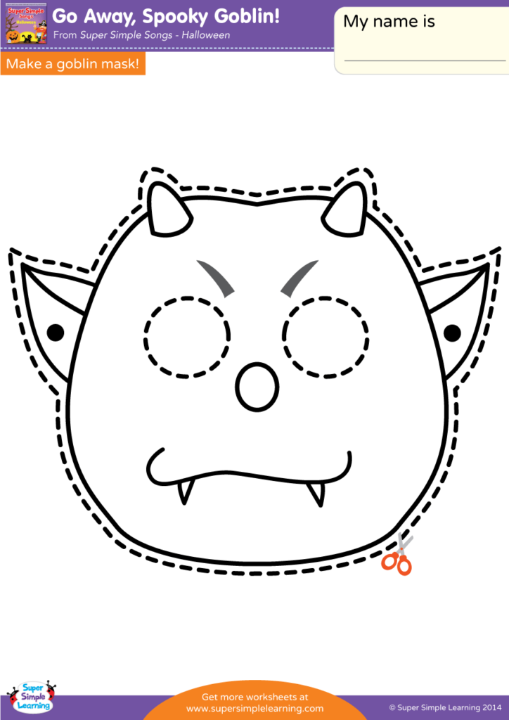 Go Away  Spooky Goblin  Worksheet - Make A Mask