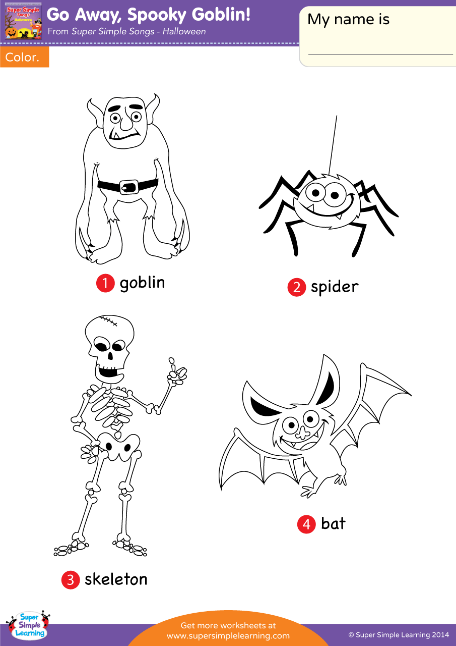 Go Away Spooky Goblin Worksheet Vocabulary Coloring