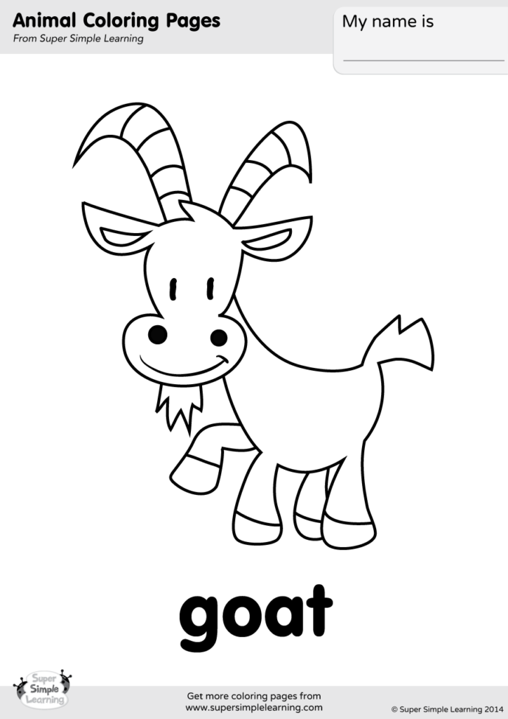 Goat Coloring Page - Super Simple