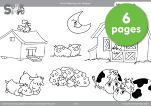 Good Morning, Mr. Rooster Coloring Pages | Super Simple