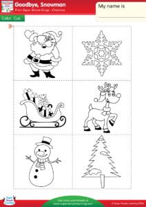 color the christmas themed vocabulary santa tree reindeer snowman sleigh snowflake then cut out the items and paste them on the correct silhouettes