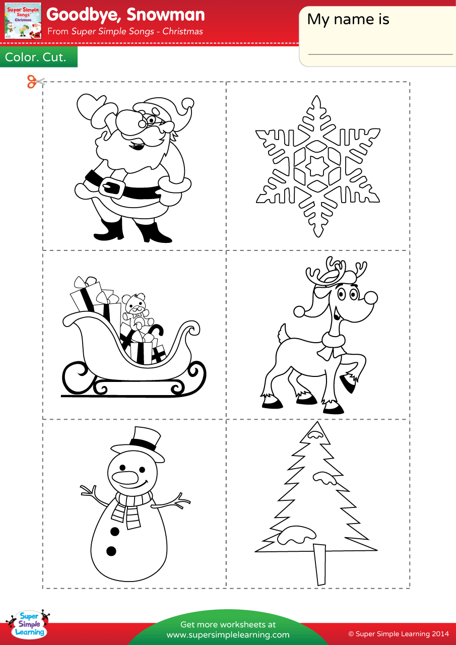 Goodbye, Snowman Worksheet – Color, Cut, & Paste | Super Simple