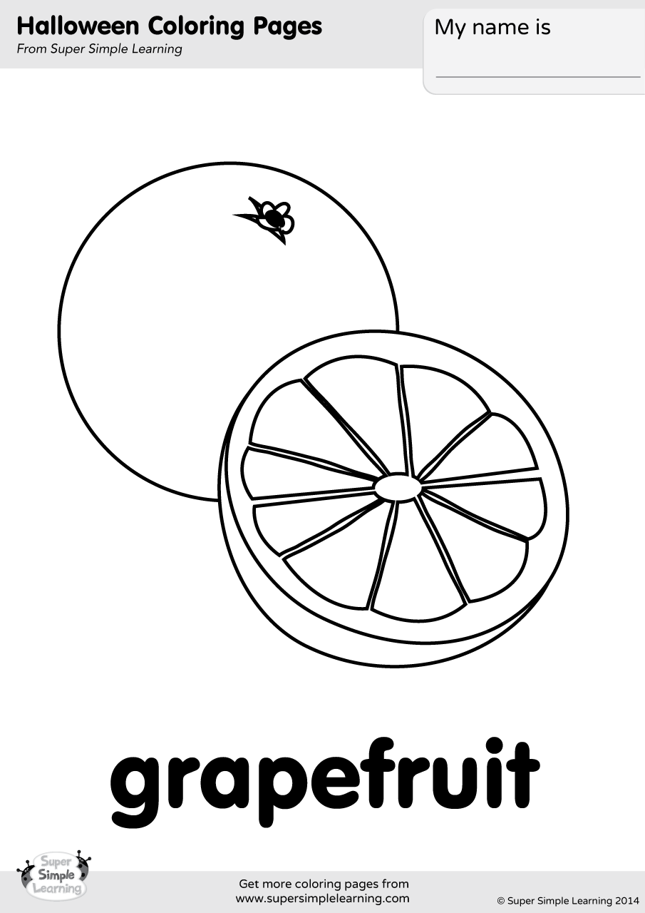 Grapefruit Coloring Page - Super Simple