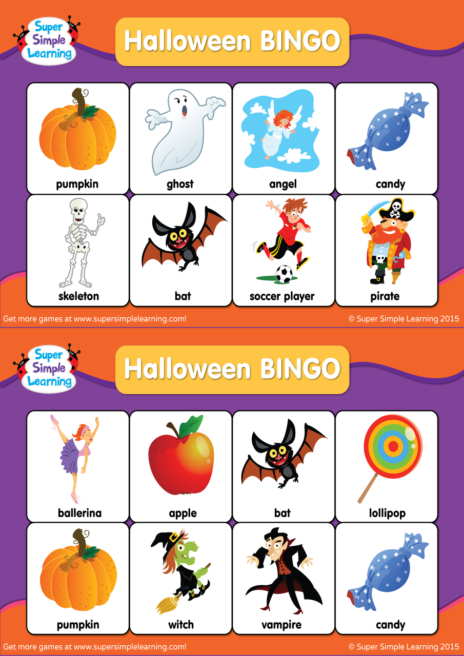 Halloween Bingo Cards Super Simple