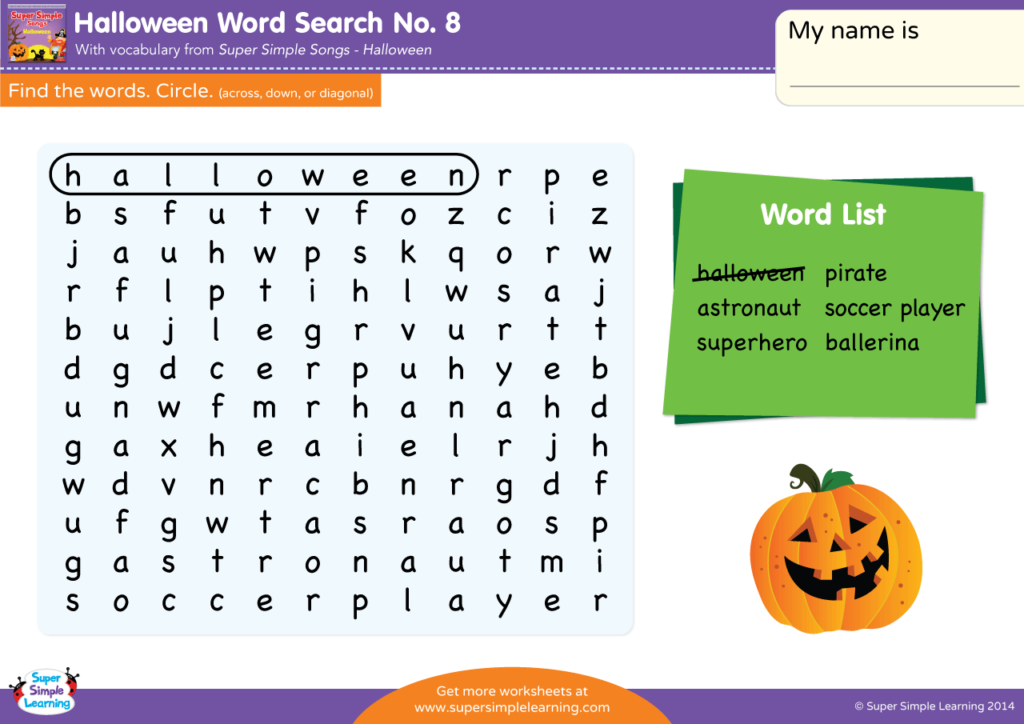 graphic about Halloween Word Search Puzzle Printable identified as Halloween Phrase Glimpse #8 - Tremendous Basic