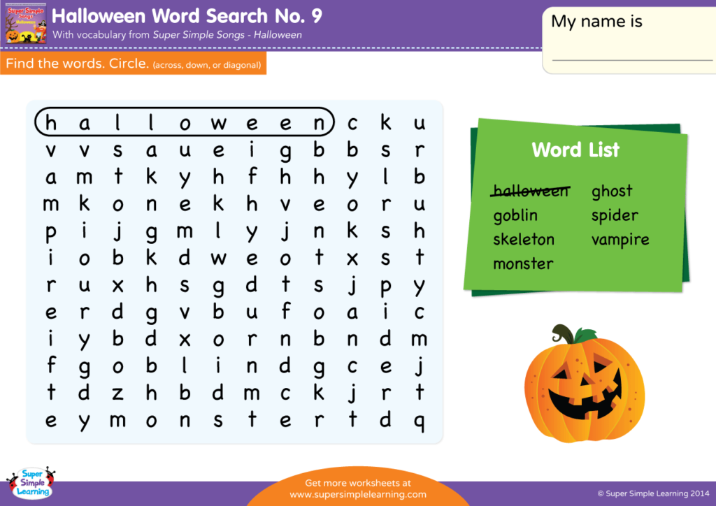 Halloween Word Search 9 Super Simple