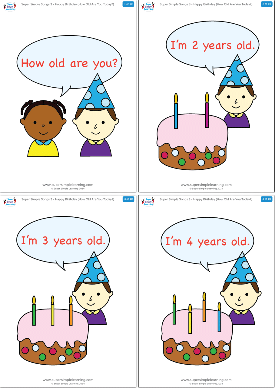 Happy Birthday How Old Are You Today Flashcards Super Simple