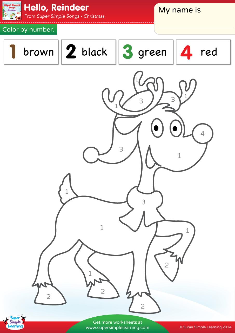 Hello Reindeer Worksheet Color By Number Super Simple