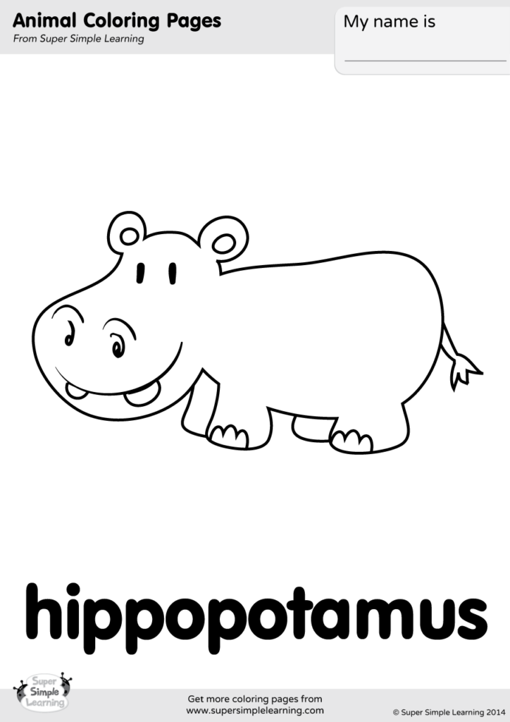 Hippopotamus #37 (Animals) – Printable coloring pages | 1024x724