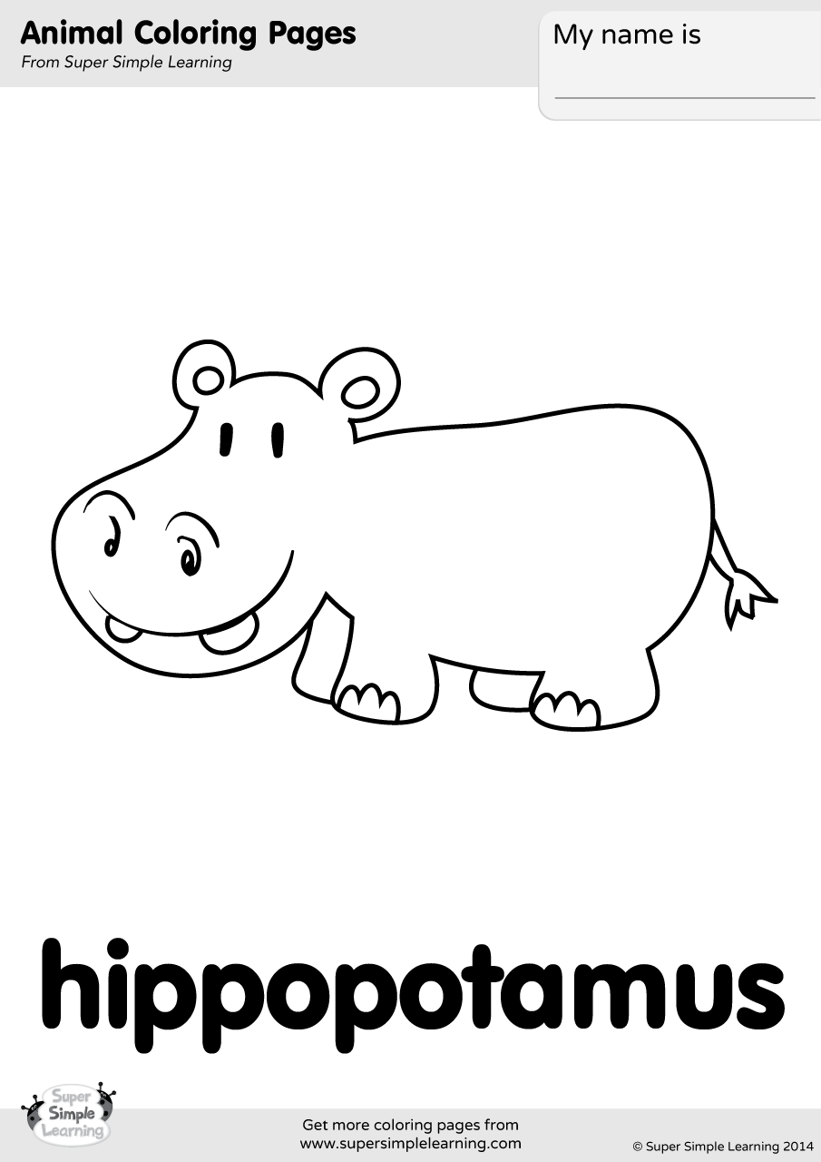 Hippopotamus Coloring Page Super Simple