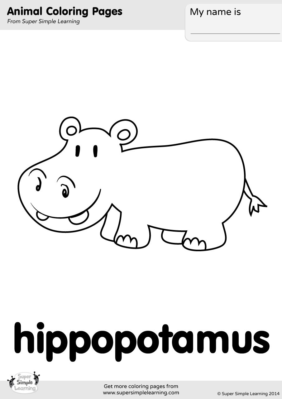 Hippopotamus Coloring Page Super Simple