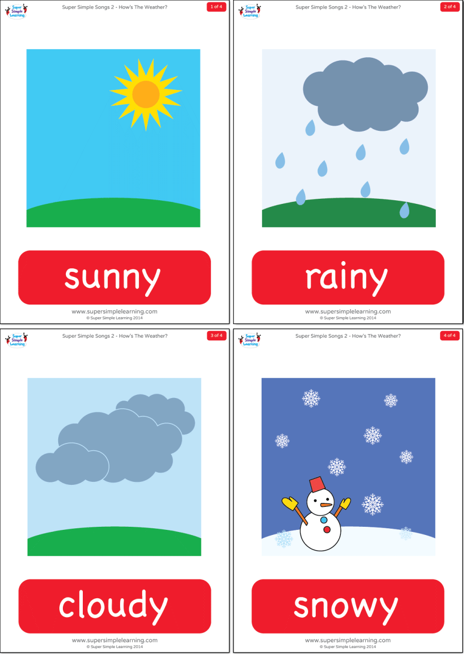 How's The Weather? Flashcards - Super Simple