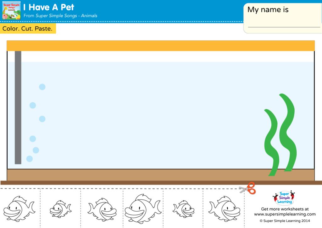 I Have A Pet Worksheet - Cut & Paste The Fish - Super Simple