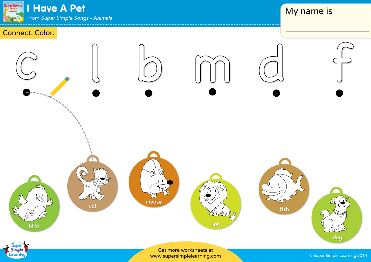 I Have A Pet Worksheet Lowercase Letter Matching Super