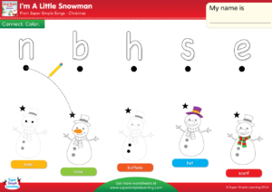 I m A Little Snowman Worksheet – Lowercase Letter Matching