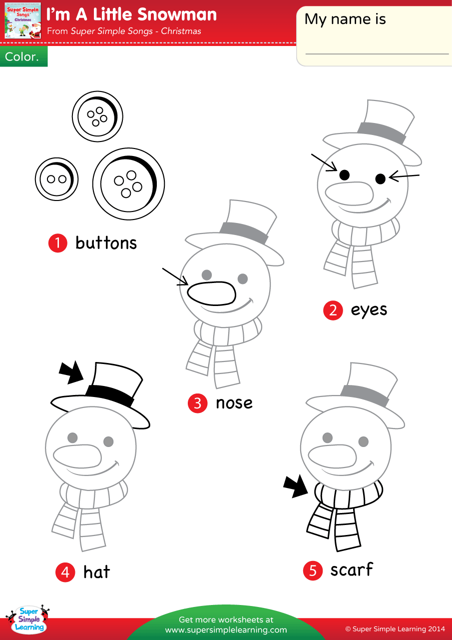 I\'m A Little Snowman Worksheet – Vocabulary Coloring (1) | Super Simple